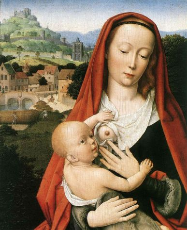 Maria ammer1 - Mary and Child – detail by Gerard David, 1490